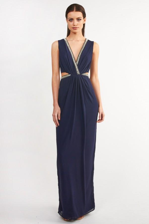 TFNC Banji Navy Maxi Embellished Dress