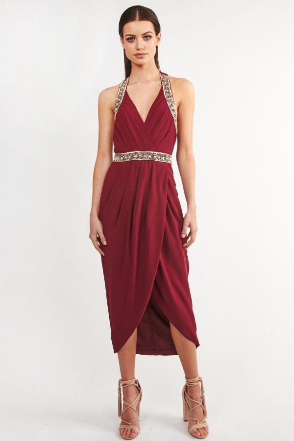 TFNC Roxanne Wine Dress