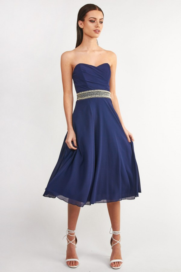 TFNC Geri Embellished Navy Midi Dress