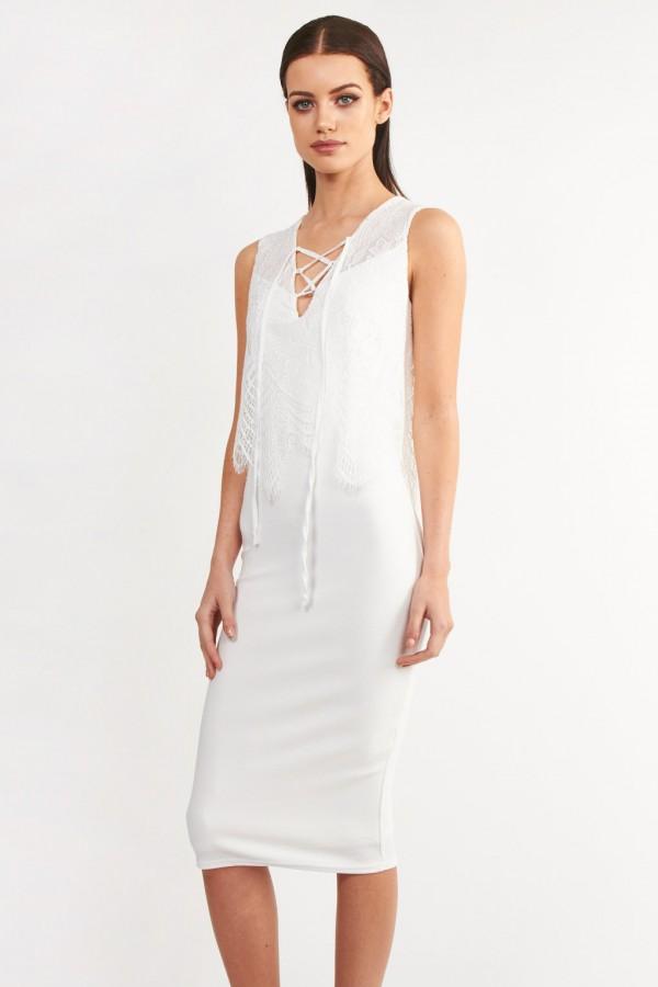 TFNC Olivia White Dress