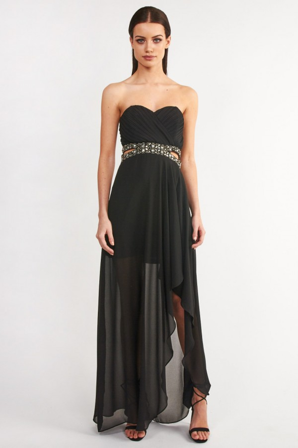 TFNC Cadence Black Maxi Embellished Dress