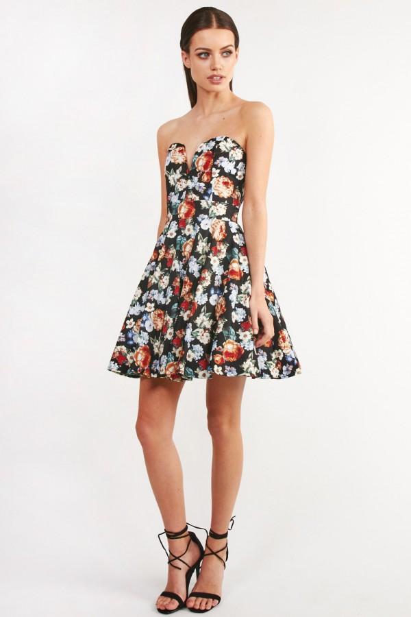 TFNC Geri Black Floral Bandeau Dress