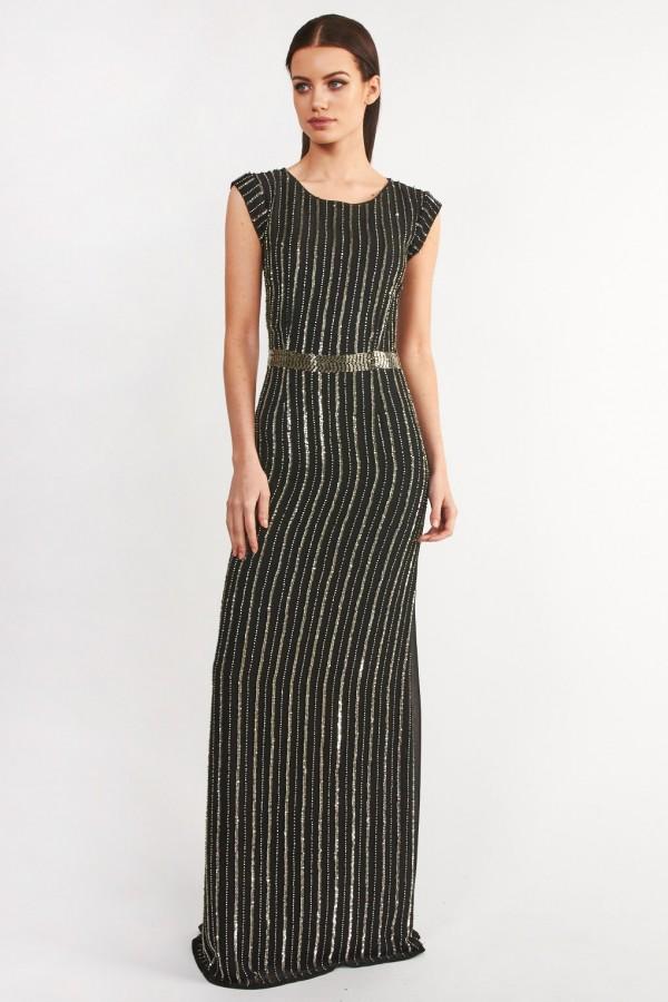 Lace & Beads London Black Embellished Maxi Dress