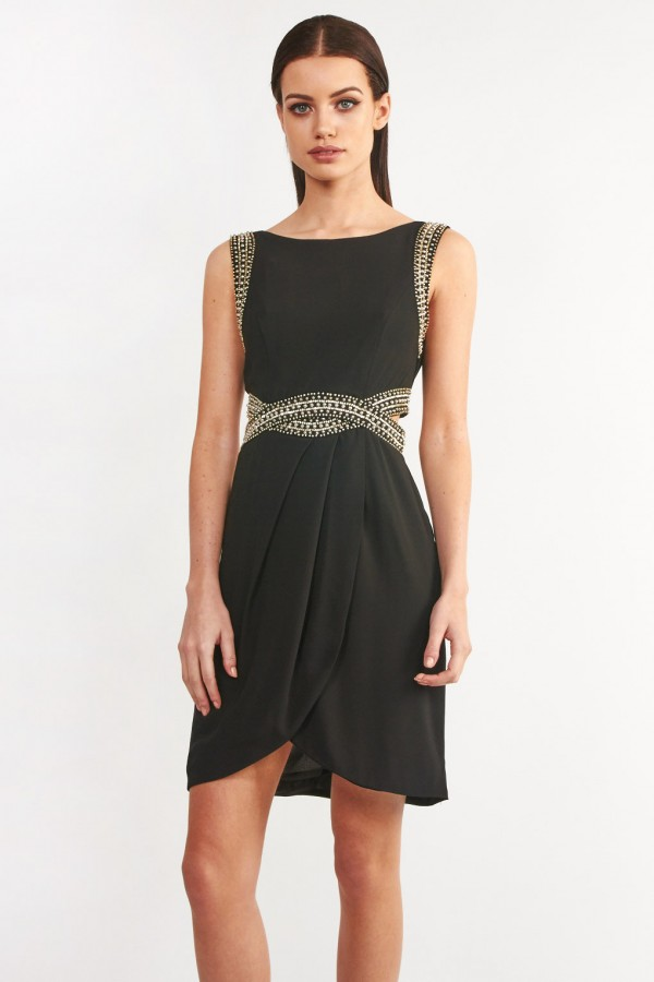 TFNC Malaga Embellished Black Wrap Dress