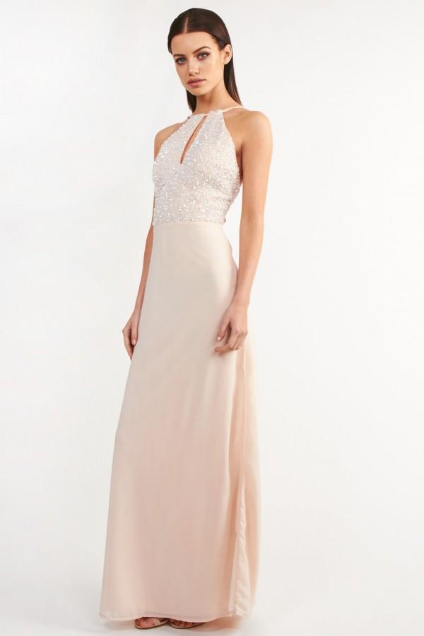 Lace & Beads Pam Pink Maxi Dress