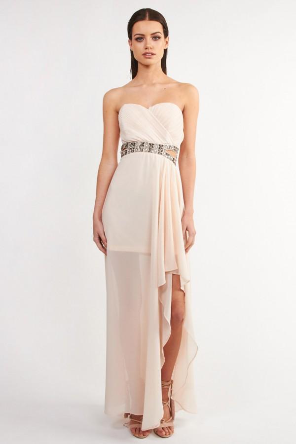 TFNC Cadence Nude Maxi Embellished Dress