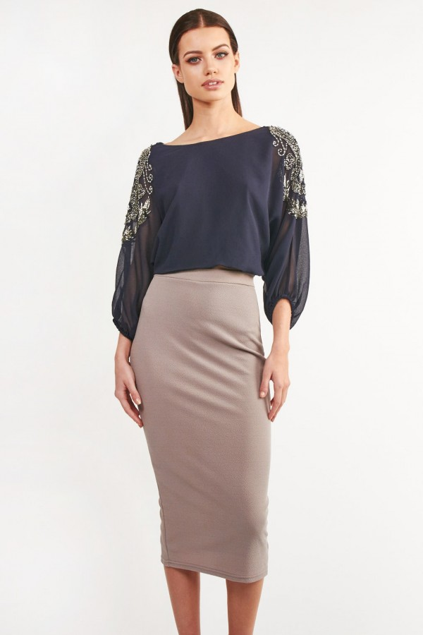 Lace & Beads Denise Navy Top