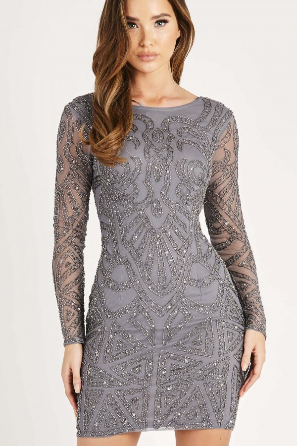 Lace & Beads Brooklyn Grey Sequin Dress
