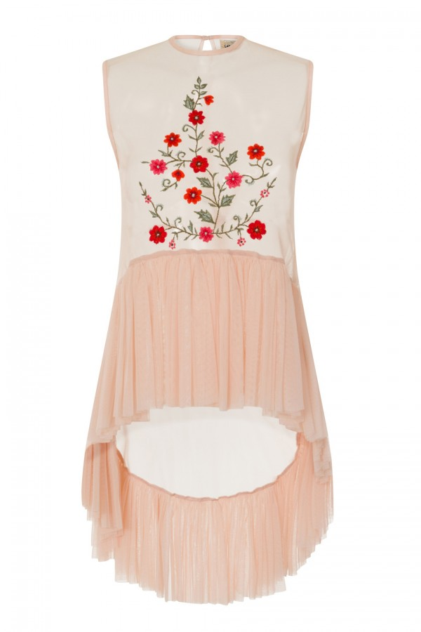 Lace & Beads Flamingo Floral Nude Sheer Top