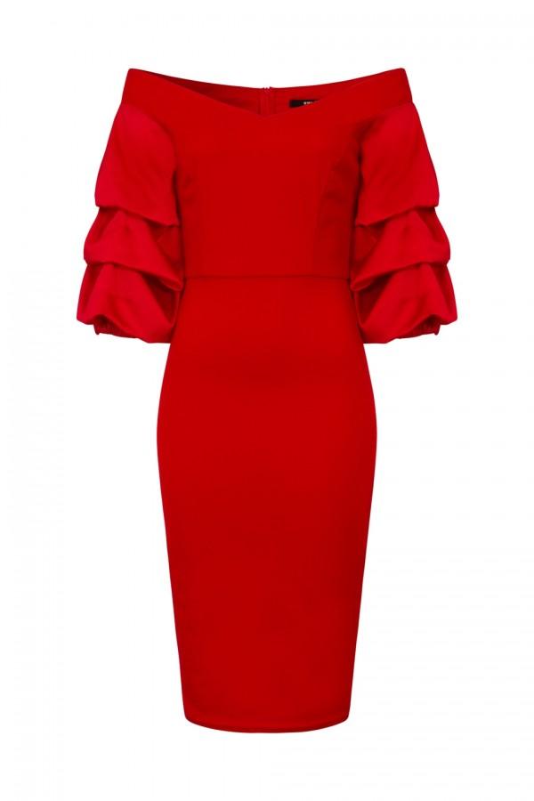 TFNC Nisha Red Midi Dress