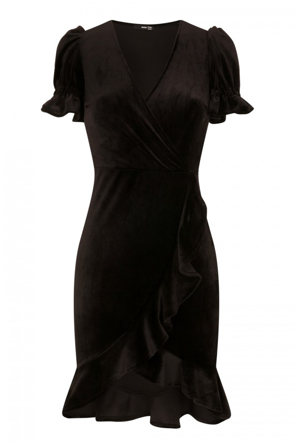 TFNC Edwina Crushed Velvet Black Midi Dress