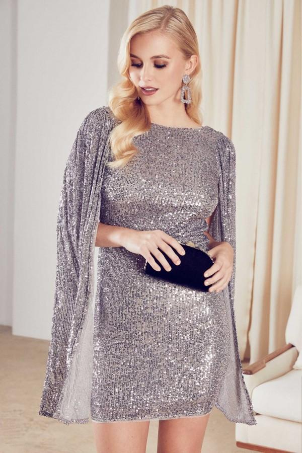 TFNC Valaya Grey/Silver Sequin Mini Dress