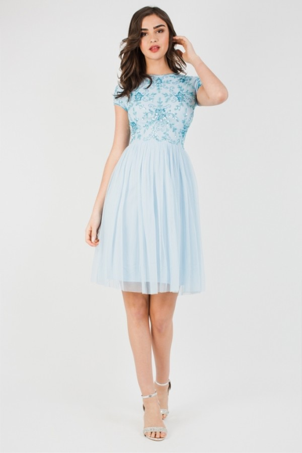 Lace & Beads Nemesis Sky Blue Mini Dress