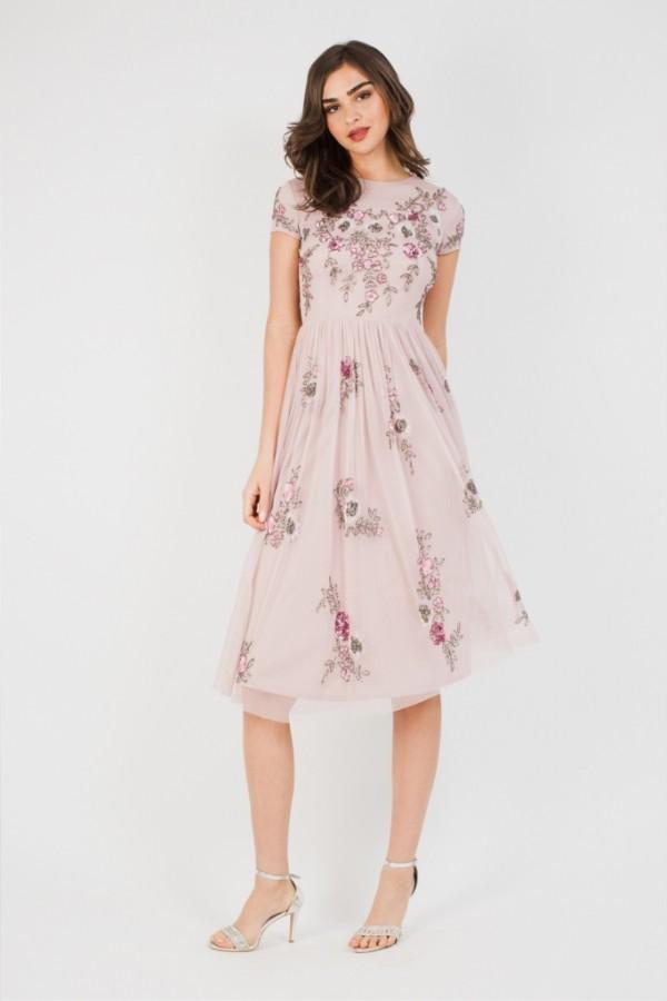 Lace & Beads Nobu Midi Pink Dress