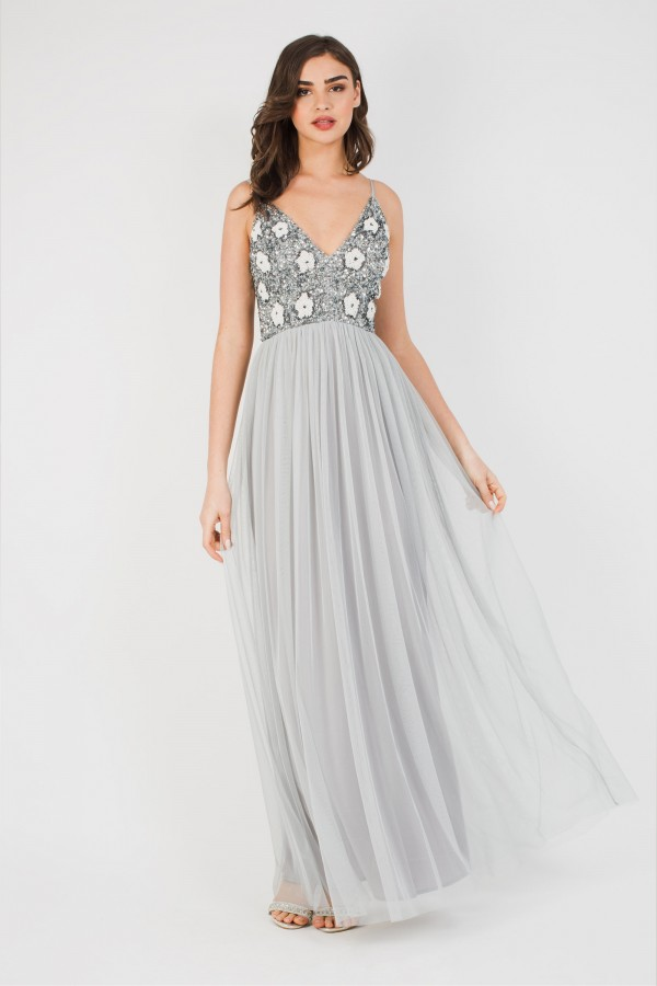 Lace & Beads Avon Grey Maxi Dress