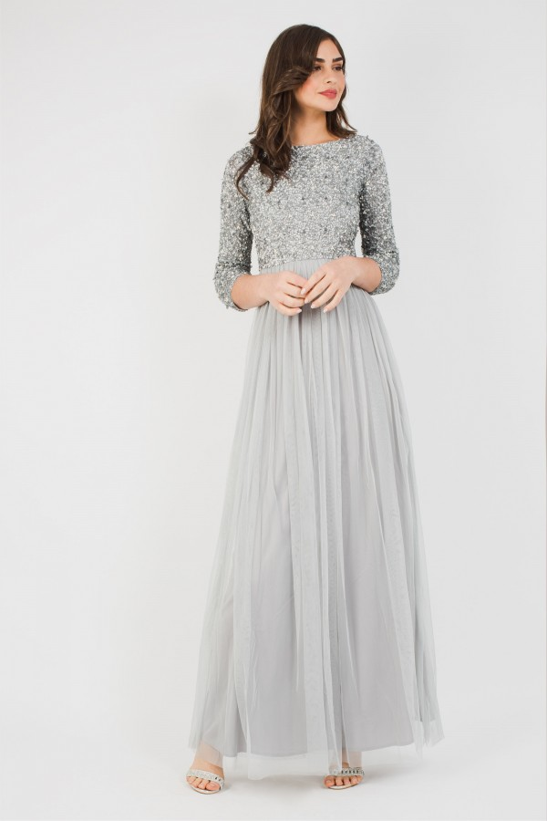 Lace & Beads Picasso 3/4 Sleeved Grey Embellished Maxi Dress
