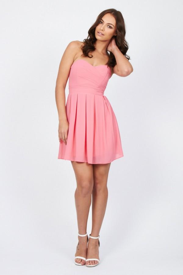 TFNC Elida Pink Chiffon Dress