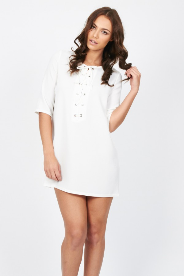 TFNC Carly White Dress