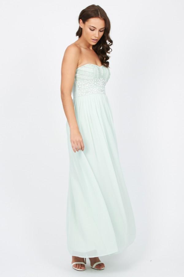 Lace & Beads Karina Mint Maxi Dress