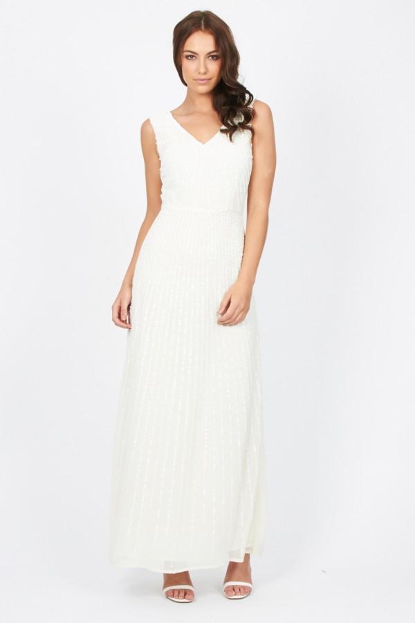 Lace & Beads Natalia Cream Maxi Dress