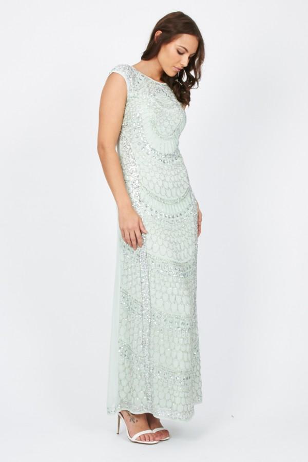 Lace & Beads Teardrop Mint Maxi Dress