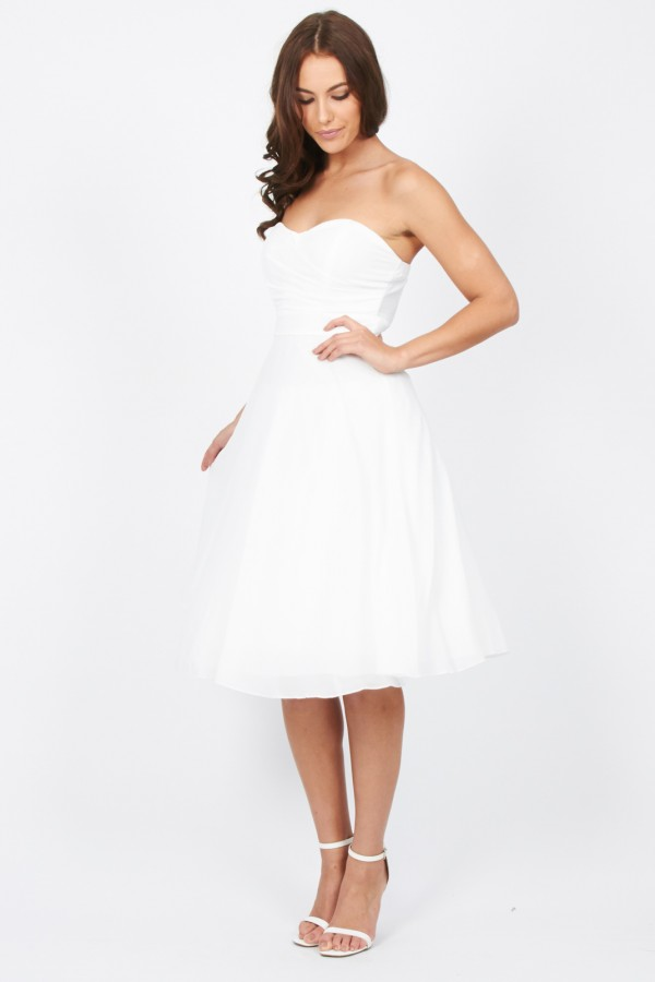 TFNC Debutante White Midi Dress