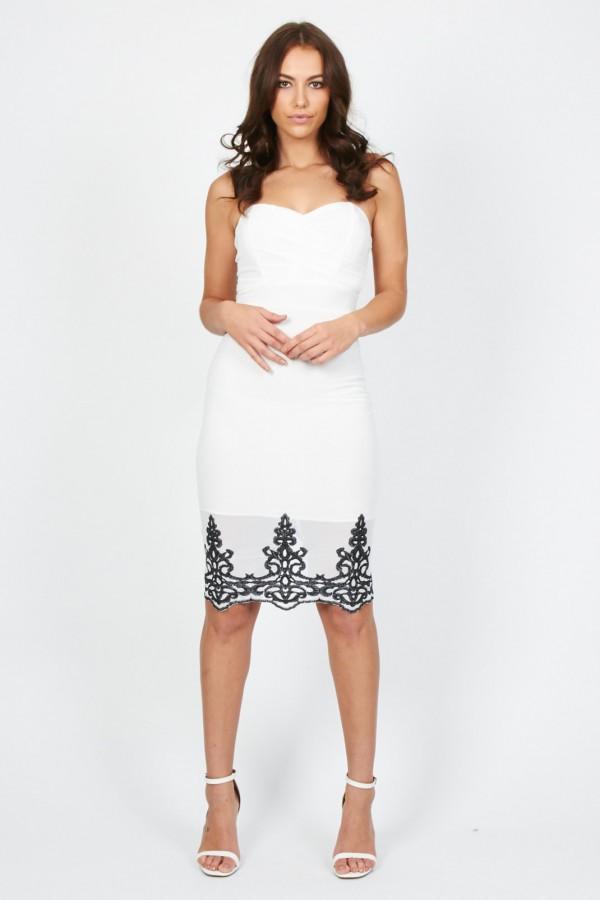 TFNC Lila White Midi Dress
