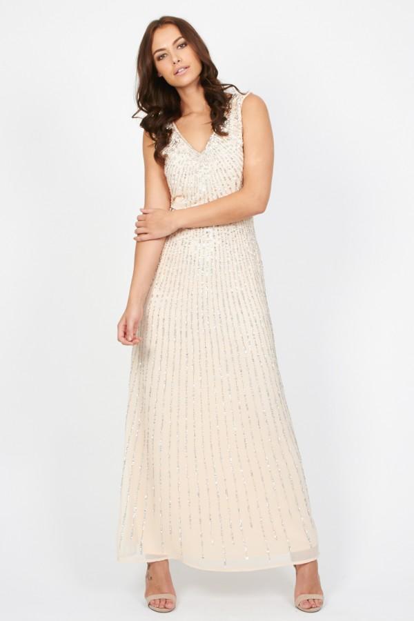 Lace & Beads Natalia Pink Maxi Dress