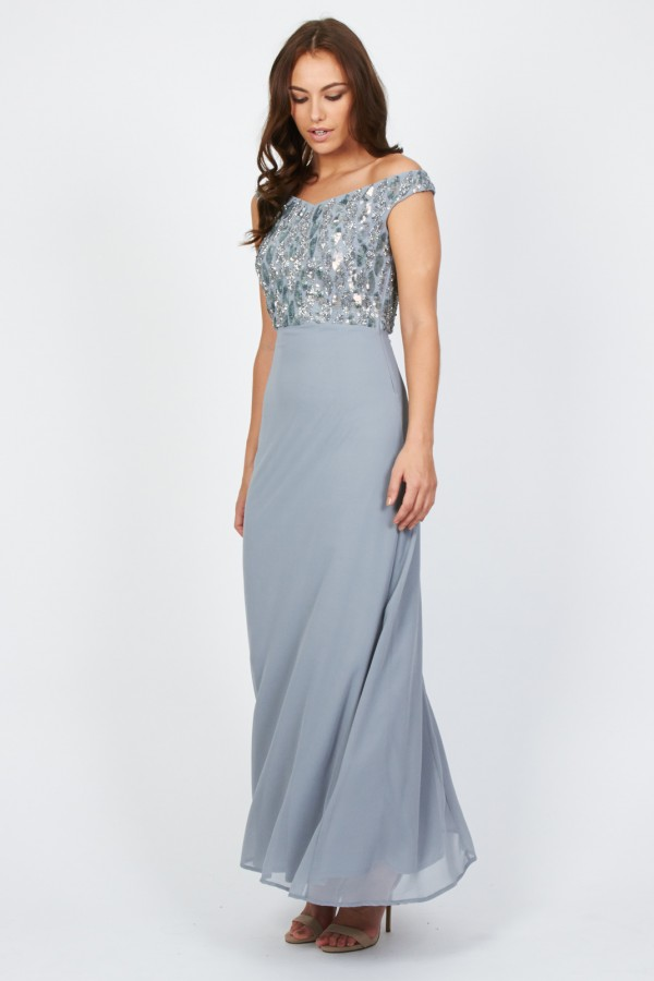 Lace & Beads Tender Blue Maxi Dress