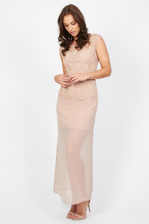 Lace & Beads Lori Pink Maxi Dress