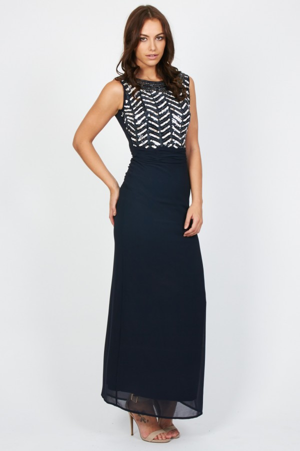 Lace & Beads Flair Navy Maxi Dress