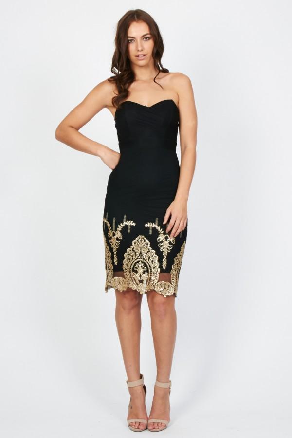 TFNC Lila Black Midi Dress