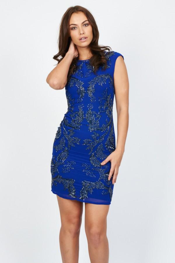 Lace & Beads Petrola Blue Embellished Dress