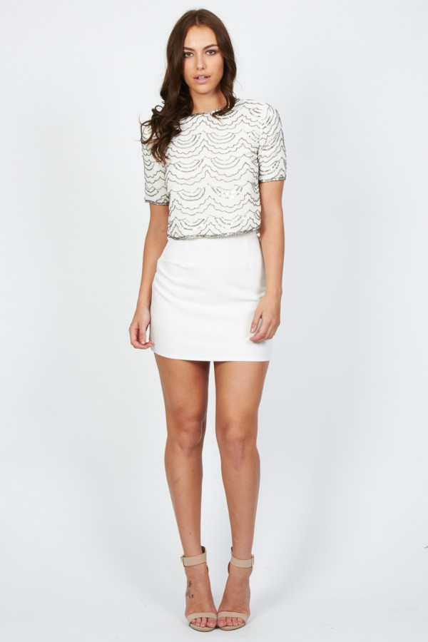 Lace & Beads Cloud White Top