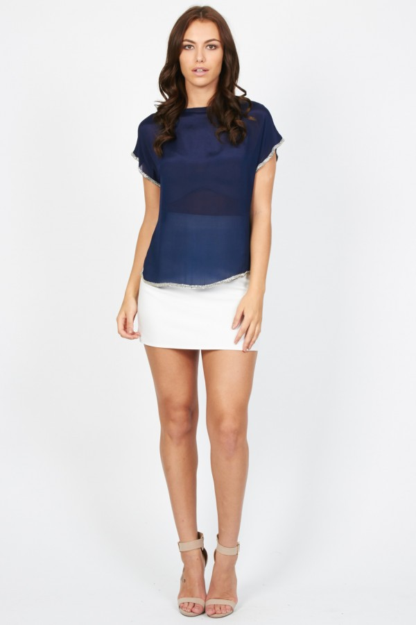 Lace & Beads Sammie Navy Top