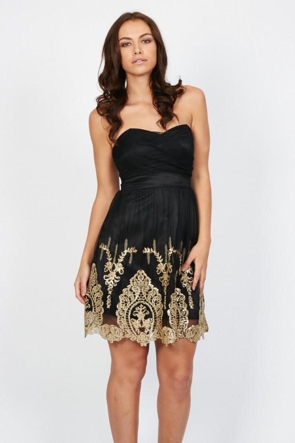 TFNC Lila Black Bandeau Dress