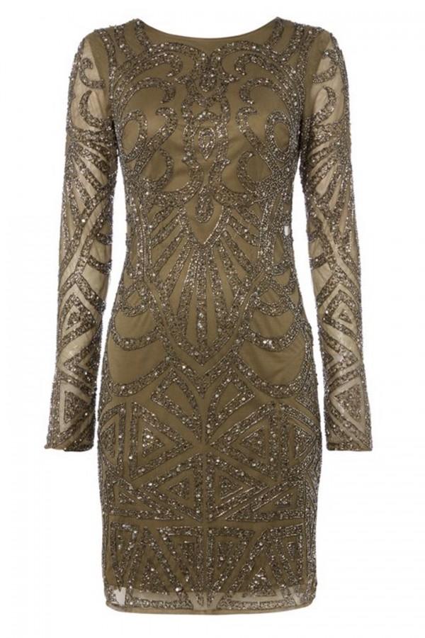 Lace & Beads Brooklyn Khaki Embellished Dress