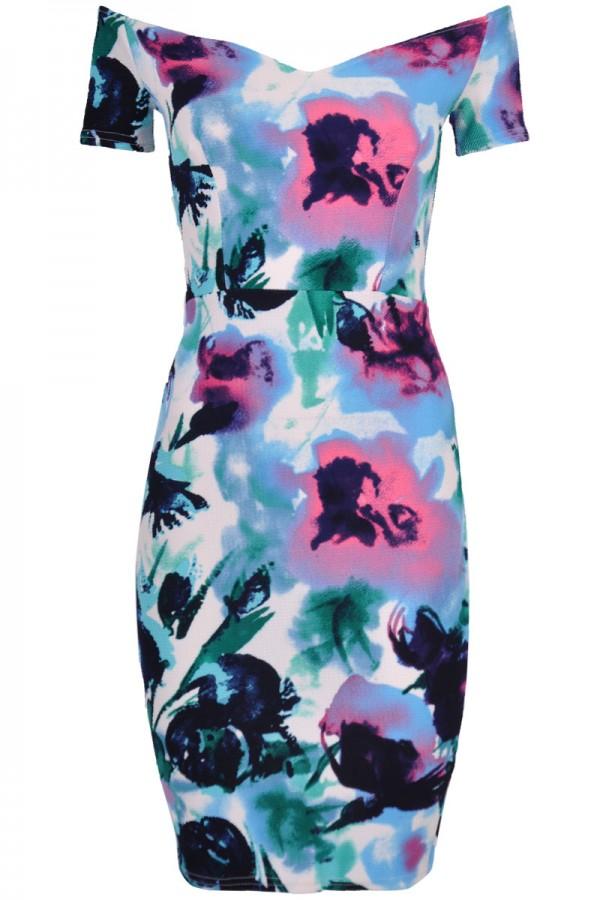 TFNC Jane Floral Off Shoulder Midi Dress