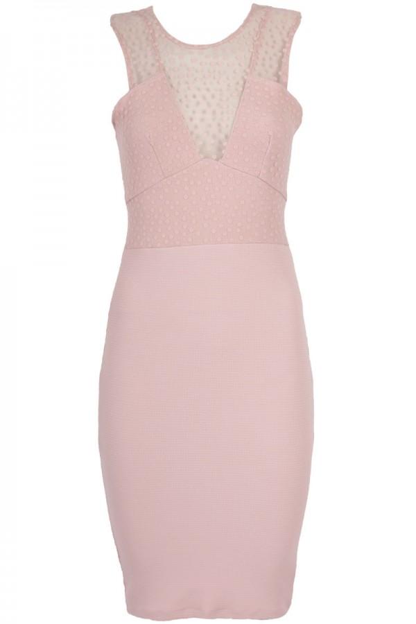 TFNC Blush Bodycon Midi Dress