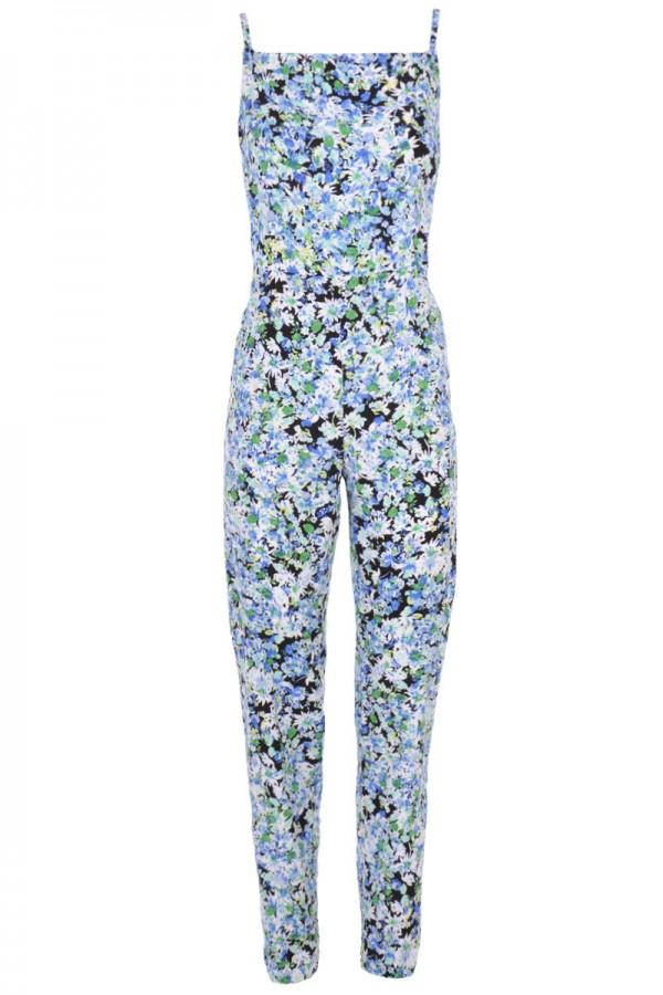 TFNC Floral Print Cross Back Jumpsuit