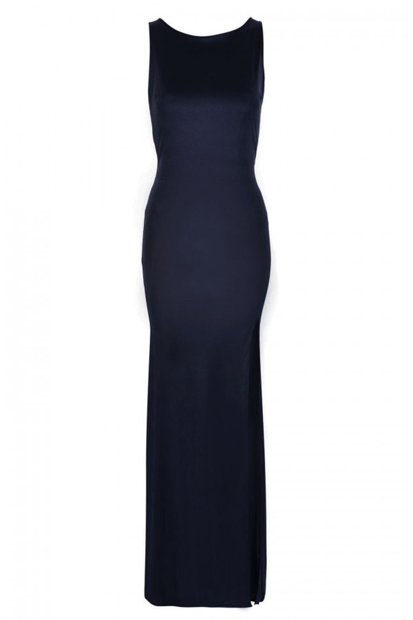 TFNC Fatima Navy Sheer Maxi Dress