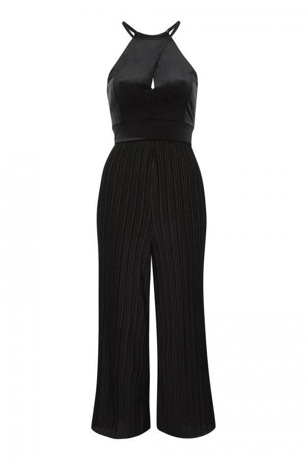 TFNC Bethina Black Velvet Jumpsuit