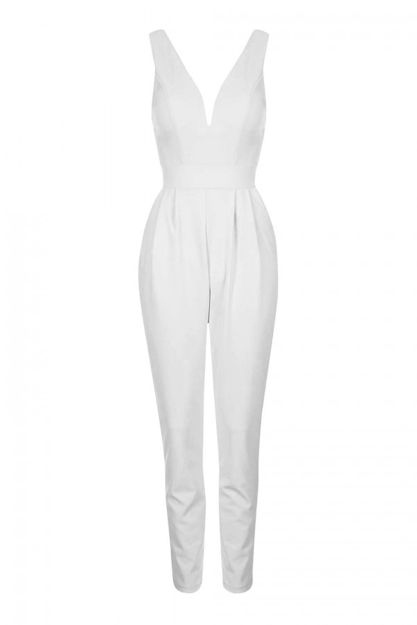 WalG Deep V White Jumpsuit