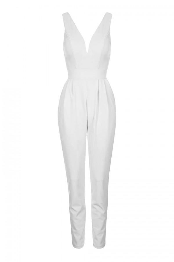 WalG Deep V White Jumpsuit