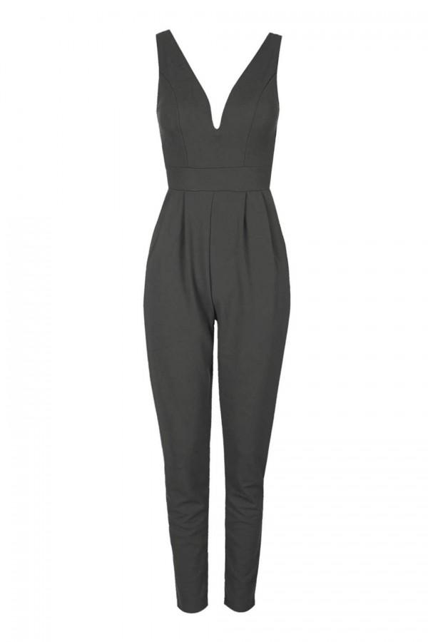 WalG Deep V Grey Jumpsuit