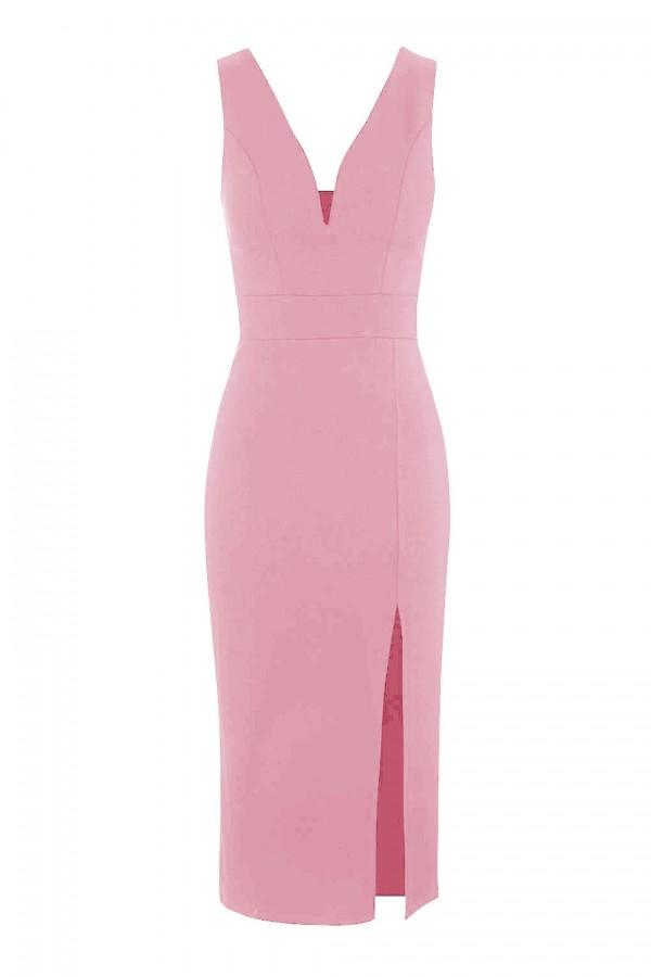WalG Deep V Pink Midi Dress