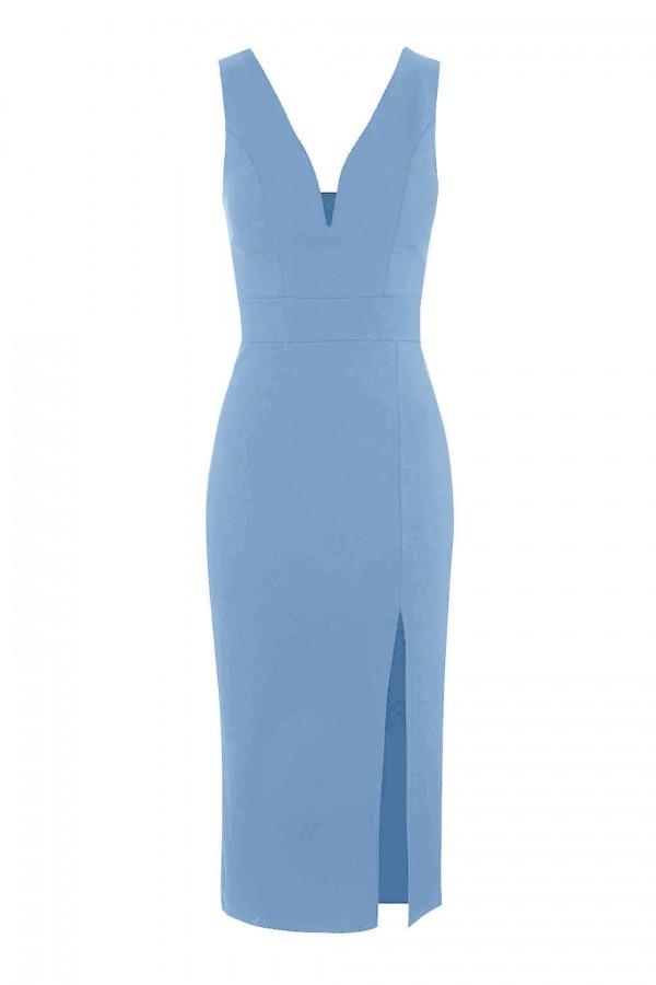 WalG Deep V Blue Midi Dress