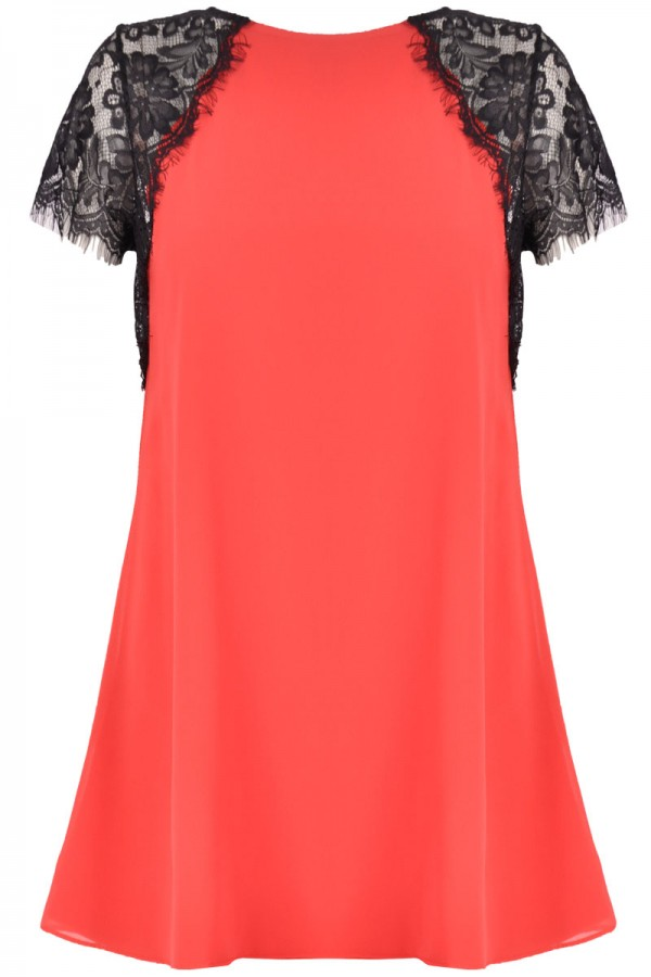 TFNC Lava Red Lace Swing Dress