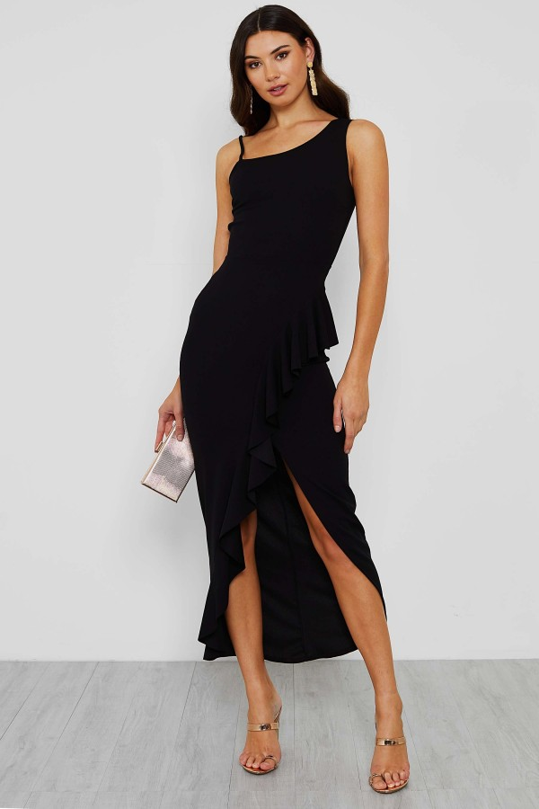 WalG Lauren Black Side Frill Maxi Dress