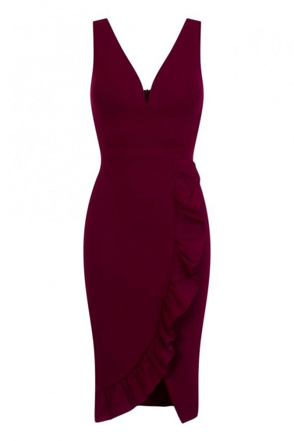 WalG Deep V Ruffle Wine Midi Dress
